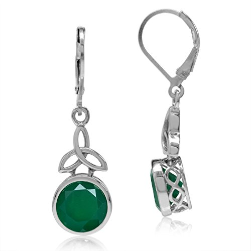 Silvershake 4.88ct. 9mm Natural Emerald Green Agate 925 Sterling Silver Triquetra Celtic Knot Leverback Earrings