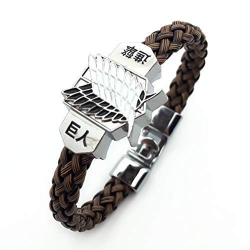 Bowinr Attack on Titan Bracelet, Japanese Anime Braid Wristband for Men and Women