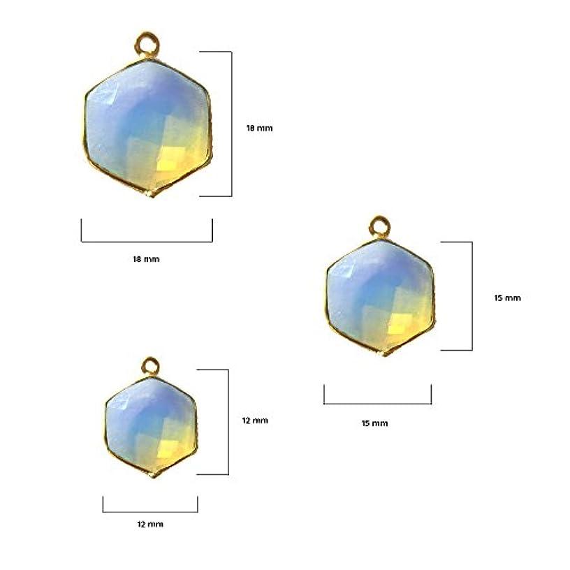 2 Pcs Opalite Hexagon Beads 12mm 24K gold vermeil by BESTINBEADS, Opalite Hydro Quartz Hexagon Pendant Bezel Gemstone Connectors over 925 sterling silver bezel jewelry making supplies