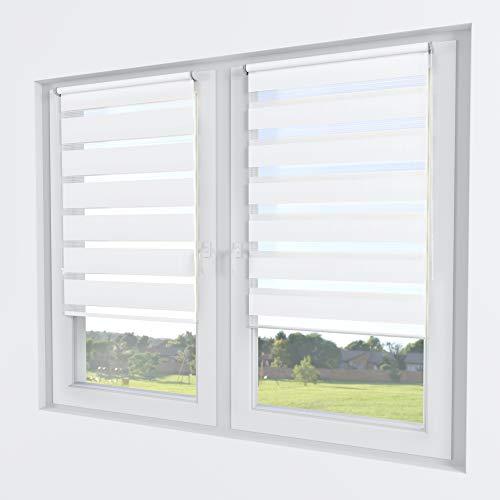 Rollmayer Doppelrollo Klemmfix ohne Bohren Klemmrollo Fensterrollo Duo Rollo Sonnenschutzrollo Zebrarollo Seitenzugrollo für Fenster und Tür (Weiß - 50 x 150 cm - BxH)