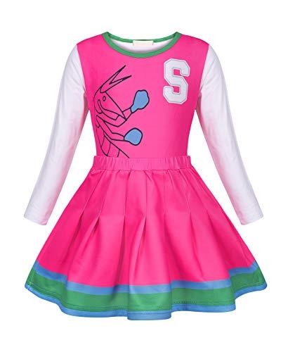 Fantasia de líder de torcida MetCuento para meninas, vestido de manga longa, para o Dia das Bruxas, roupa de aniversário, rosa 8-9 anos