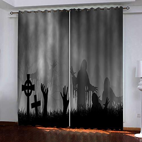 Blickdicht verdunklungsvorhänge mit Ösens,100% Polyester , Ein Satz von 2, Pro Stück 140x210 cm (W x L) ,Moderner Gardinen mit 3D Zombie-Muster - Geeignet für Wohnzimmer und Schlafzimmer