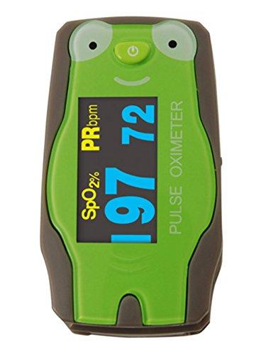 """Kinder Fingerpulsoximeter \""""Frosch\"""" inklusive Zubehör und OLED-Anzeige Original OxyWatch®"""