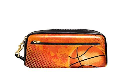 Deporte Baloncesto lápiz caso PU cuero papelería bolsa caso escuela caja lápiz mujeres cosméticos bolsa