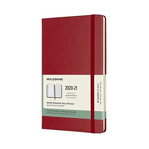 Moleskine - Agenda Settimanale 18 Mesi, Agenda Settimanale 2020 2021, Weekly Notebook con Copertina Rigida e Chiusura ad Elastico, Formato LARGE 13 x 21 cm, Colore Rosso Scarlatto, 208 Pagine