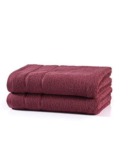 myHomery Handtuch Set bestehend aus Gästehandtücher, Duschtuch, Saunatuch und Badetuch - Saunahandtuch XXL - Handtücher Bordeaux   2er-Set Saunatuch