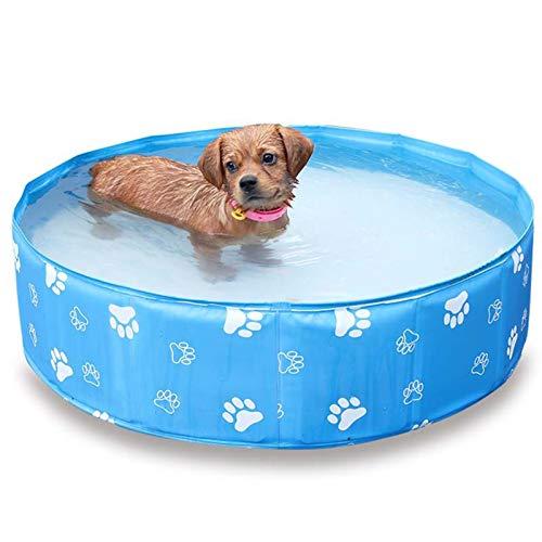 Piscina para Perros, 80x20cm Bañera de Mascotas Plegable Piscina de Agua, Natación al Aire Libre Jugando Pond Bañera de baño PVC portátil para Perros Cats Kids