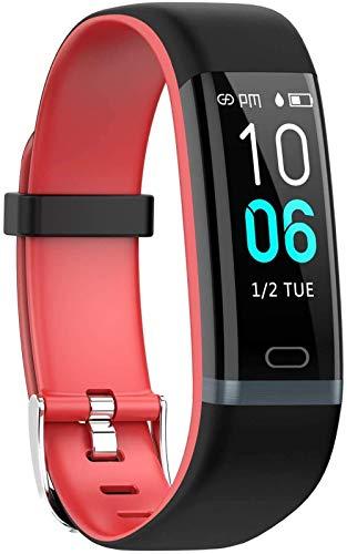 JSL Pulsera inteligente de la frecuencia cardíaca de la presión arterial IP68 impermeable Bluetooth pulsera de la salud de la pulsera inteligente reloj de pulsera de color gris-rojo