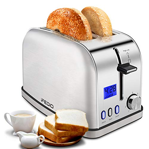 iFedio Toaster 2 Slice Best Rated Prime Toasters Stainless Steel with LCD Timer Display Wide Slots Bagel Defrost Cancel Function for Breakfast Removable Crumb Tray, 900W, Silver