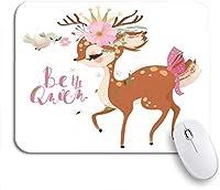 ROSECNY 可愛いマウスパッド かわいいロマンチックな夢を見る赤ちゃんプリンセス鹿鹿子鹿フローラルリースノンスリップラバーバッキングマウスパッド用ノートブックコンピュータマウスマット