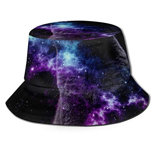 Ygoner Flat Top Breathable Bucket Hats Cat Galaxy Unisex Funny Bucket Hat Summer Fisherman's Hat