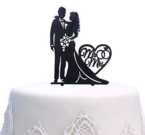 "SONSMER - Topper per torta con scritta in lingua inglese ""Mr and Mrs"""