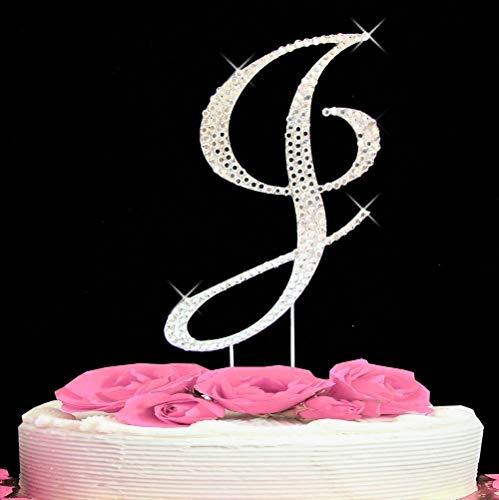 Letter J - Swarovski Crystal Monogram Wedding Cake Topper Letter