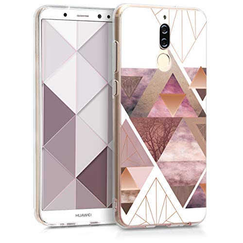 kwmobile Hülle kompatibel mit Huawei Mate 10 Lite - Handyhülle - Handy Hülle Glory Dreieck Muster Rosa Rosegold Weiß