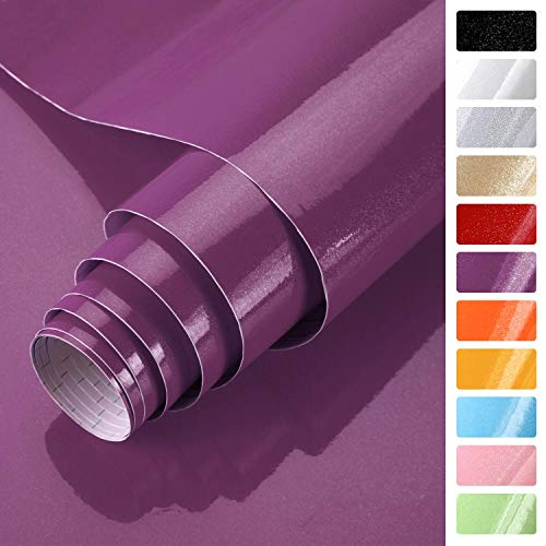KINLO lila glanz Möbelfolie 5x0.61M PVC Klebefolie Küchenschrank Aufkleber Selbstklebend Küchenfolie Deko Plotterfolie