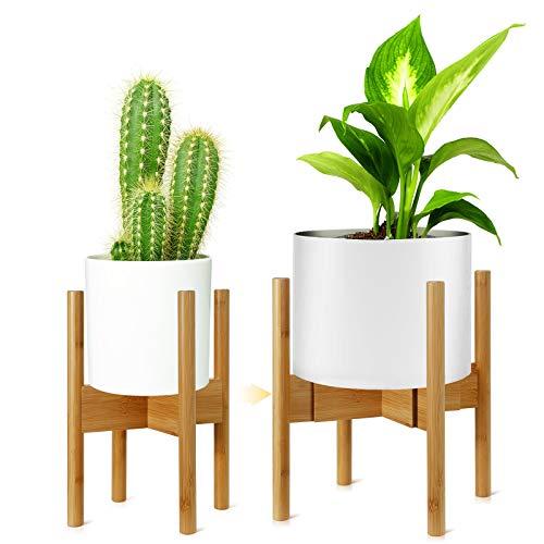 Pflanzenständer, Verstellbare Blumentopf Ständer für Blumentopf, Holz-Blumentopf-Ständer Topfgestell für Innen- und Außenbereiche bis 21.5-31.5cm Pflanzgefäß, 1 Packung (Kein Topf inbegriffen)