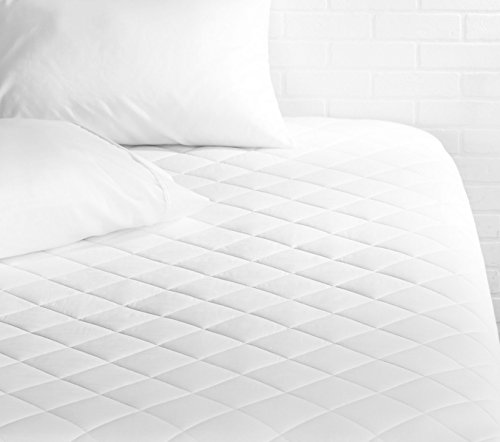 AmazonBasics Hypoallergenic Quilted Mattress Topper Pad Cover - 18 Inch Deep, Twin