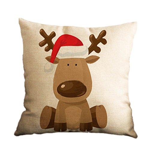 Nunubee, copri cuscino decorativo quadrato, modello natalizio, per casa, auto o divano , Cotone lino,  Pattern 1 , 45 cm x 45 cm