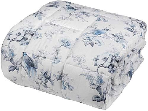 Fazzini - Colcha para cama de matrimonio de preciosa impresión digital de satén de 300 TC de puro algodón col. yeso/azul fabricado en Italia Art. HENRIETTE