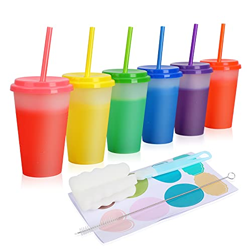 Color Changing Cups - 12oz Plastic Tumblers with Lids & Straws Reusable Bulk Summer Party Drinking Cup - 6 Pack Clear Iced Cold Smoothie Cup for Kids & Adults