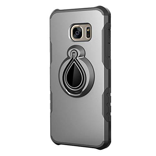Samsung Galaxy S7 hoes ring houder staander hard PC schrobben ultradun stootvast Bumper Cover Beschermhoes Case voor Samsung Galaxy S7 Free Display Standfunctie Samsung Galaxy S7 donkergrijs