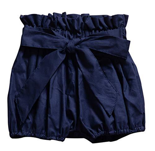 Hasaki Baby Rüschen Bloomers – Kleinkind Mädchen Floral Bowknot Shorts Gr. 90 cm(12-24 Monate), dunkelblau