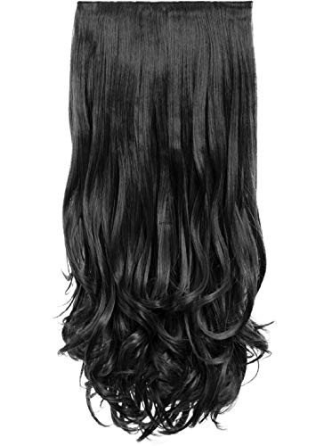 Artifice Super Volume 150g 26″ 5 Clips Based Curly/Wavy Synthetic Fibre Hair Extension (Natural Black)