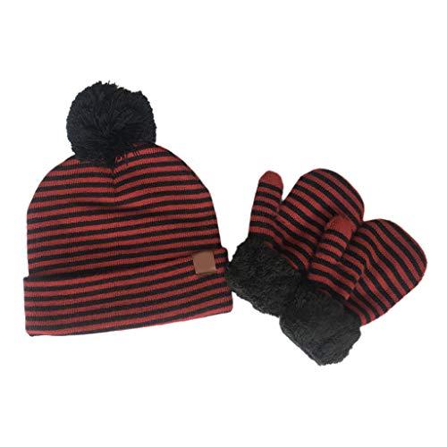 Vdn Djvn - Gorro para mujer (2 piezas, 3 a 8 años), lana infantil a rayas de lana para bebé, gorro, guantes de lana falsa