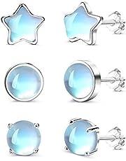 CASSIECA 3 Pares Pendientes de Piedra Lunar de Plata de ley 925 Pendientes Piedra Lunar Formas de Redondos y Estrella Pendientes Pequeños para Mujeres Pendientes Antialérgicos Regalo para Niña