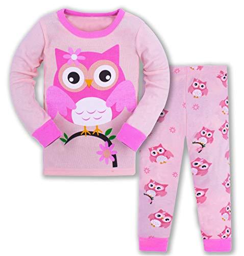 HIKIDS Mädchen Schlafanzug Mädchen Eule Langarm Zweiteiliger Schlafanzug Kinder Herbst Winter Bekleidung Nachtwäsche Pyjama Set 110