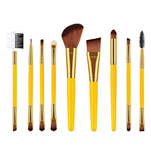 Ensemble de pinceaux de maquillage pour la Fondation Blending fard à joues Ombre à paupières Eyeliner visage avec fibres synthétiques Soies Poignées en bois Brosses cosmétiques jaune 9Pcs