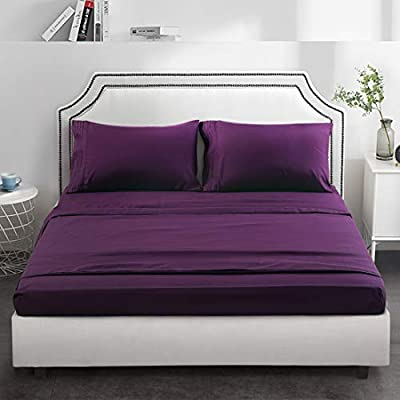 """TEKAMON Premium 4 Piece Bed Sheet Set 1800TC Bedding 100% Microfiber Polyester - Super Soft, Warm, Breathable, Cooling, Wrinkle and Fade Resistant - 10-16"""" Extra Deep Pockets, Queen, Purple"""