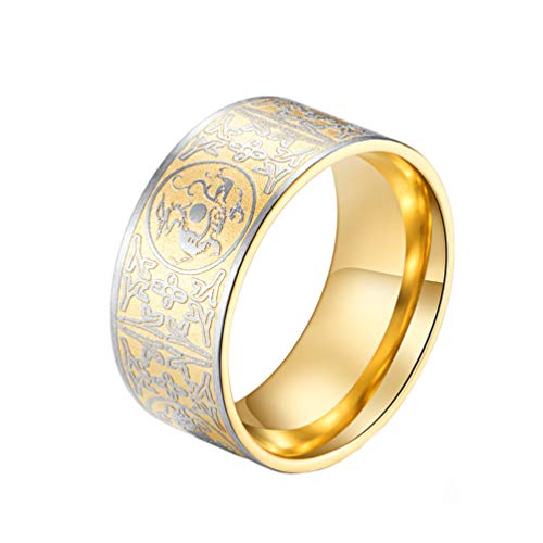 PAMTIER Men's Stainless Steel Ring Ancient 4 Guardian Beast, Dragon, White Tiger, Suzaku, Basalt Carved Gold Size 13
