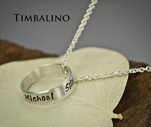 Silberring an Kette mit Gravur auf der Aussenseite, Verlobungsring Freundschaftsringe personalisiert