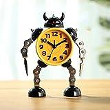 MYYXGS Reloj De Mesa Reloj Deformado Reloj con Forma De Robot Reloj Infantil para Estudiantes Reloj Despertador Robot De Metal De Dibujos Animados