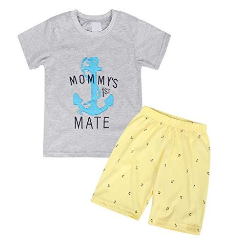 Cotrio Roupas de verão para meninos t-shirt infantil de algodão de manga curta e shorts conjuntos tamanho 2-3 anos cinza