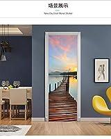 ドアの壁紙 家の装飾のための海の日没の桟橋Pvc自己粘着ウォールステッカー-77Cm(W)*200Cm(H)