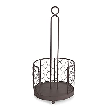 Home Traditions Z02231 Vintage Metal Chicken Wire Paper Towel Holder Stand for Kitchen and Pantry, Rustic