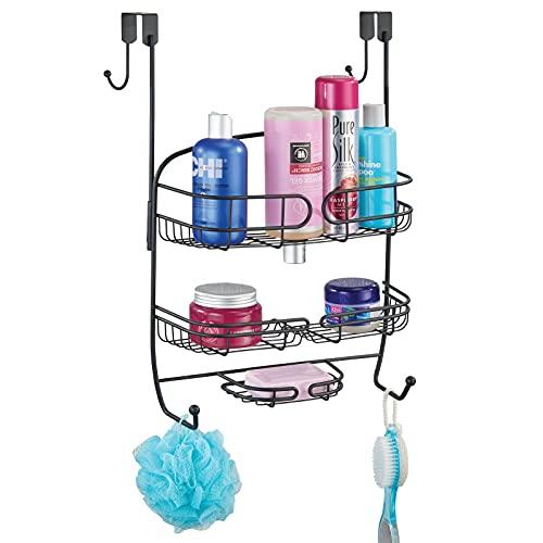 mDesign Colgador para ducha – Práctica estantería de ducha para colgar en la mampara – Organizador de baño de metal – negro