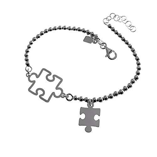 Pulsera plata Ley 925m 18cm. motivo puzzles calado liso bolas cierre mosquetón mujer [AC1263]
