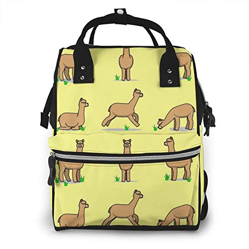 Risating Mummy Backpack - Brown Alpaca Llama Diaper Pad Bottle Bags Multifunction Waterproof Twill Canvas for Mom Dad
