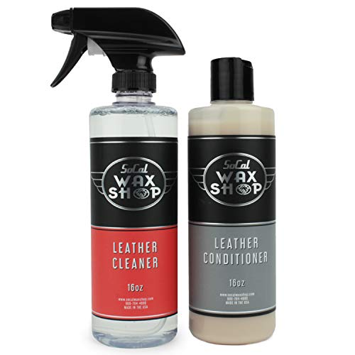 SoCal Wax Shop Leather Seat Cleaner and Conditioner Bundle - Spray and Liquid for Car Seats, Shoe, Furniture, Couch, Purses, or Jacket - Car Detailing Products, Cleaning Supplies Auto Care Accessories
