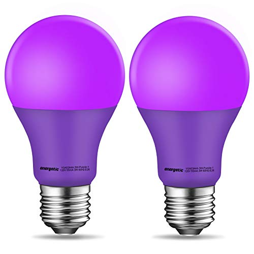 A19 Purple Light Bulb, 3W Equivalent 40W, E26 Base Non-dimmable LED Bulb for Indoor Use, Party Decoration, Home and Holiday Lighting, UL Listed, 2 Pack