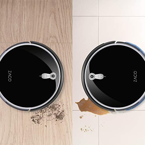 ZACO A8s Saugroboter mit Wischfunktion, App & Alexa Steuerung, 7,2cm flach, automatischer Staubsauger Roboter, 2in1 Wischen oder Staubsaugen, für Hartböden, Fallschutz, mit Ladestation - 7