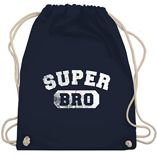 Shirtracer Bruder & Onkel - Super Bro - Vintage-&Collegestil - Unisize - Navy Blau - turnbeutel bro - WM110 - Turnbeutel und Stoffbeutel aus Baumwolle