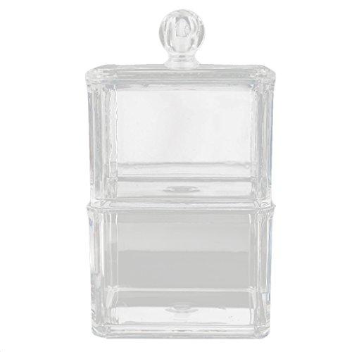 Boîte de Rangement de Maquillage Organisateur de Coton-tige à Double Couche Acrylique