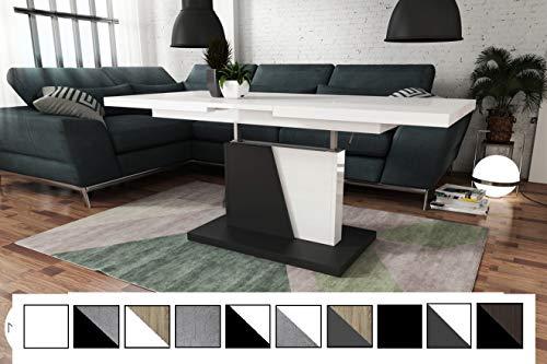Design Couchtisch Tisch Grand Noir stufenlos höhenverstellbar ausziehbar 120 bis 180cm Esstisch (Weiß Hochglanz/Schwarz Matt)