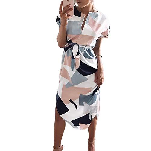 TSWRK Vestido casual de verano para mujer, cuello en V, estampado floral, estampado geométrico, vestido con cinturón