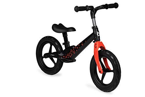 MOMI ULTI balance bike per bambini 2-6 anni | Ruote di gomma antiforatura | Telaio leggero in lega di magnesio | Altezza sella e altezza manubrio regolabili 3 kg | Black Triangle