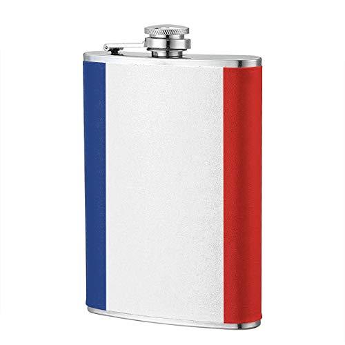 Frankreich Flagge 8OZ Edelstahl Flachmann Lustige Männer, Groomsman, Ehemann, Ehefrau, Frauen Schnaps